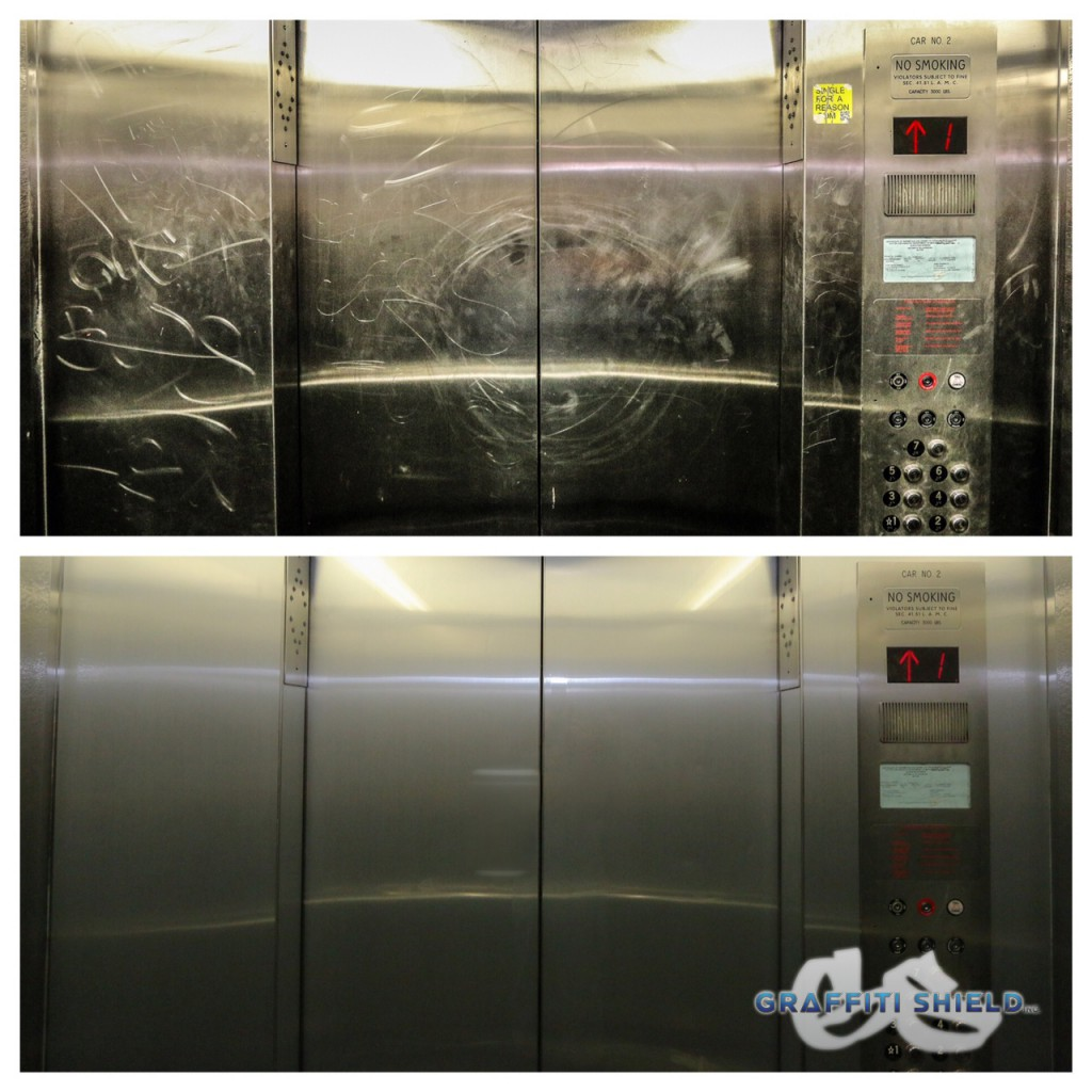 before and after metal shield elevator austin